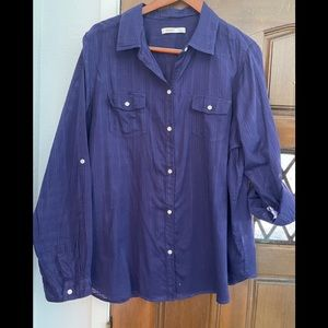 Old Navy blue button up blouse